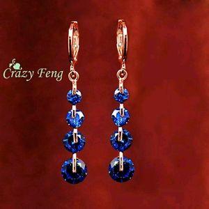 Blue Crystal Pierced Dangle Earrings